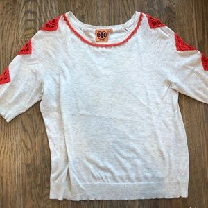 Tory Burch tan sweater with red/orange details